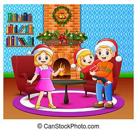vivendo, feliz, sala, família, caricatura