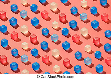 vivendo, filas, colorido, tendência, padrão, coral, diagonal, gelo, plástico, cor, cubos, 2019, pantone., fundo, ano