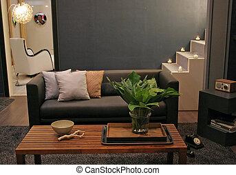 vivendo, interiores, -, sala, lar