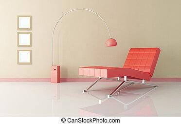 vivendo, longue, sala, vermelho, chaise
