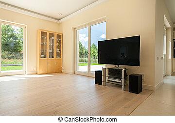 vivendo, luminoso, quarto moderno, lar