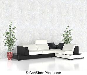 vivendo, luminoso, quarto moderno, mobília
