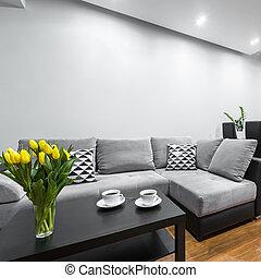 vivendo, luz, sala, sofá