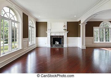 vivendo, madeira, sala, pavimentando, cereja