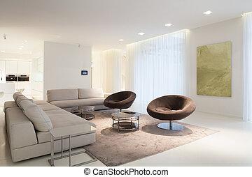 vivendo, mobília, quarto moderno, casa