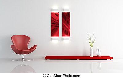 vivendo, moda, sala, poltrona couro, vermelho, mínimo