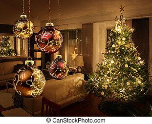 vivendo, modernos, árvore, sala, natal
