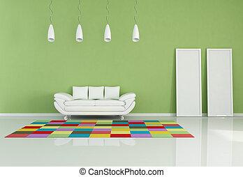 vivendo, modernos, colorido, sala
