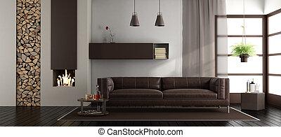 vivendo, modernos, lareira, sala