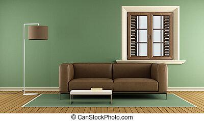 vivendo, modernos, verde, sala