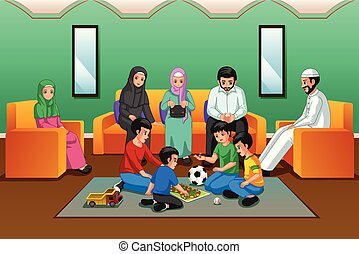 vivendo, muçulmano, sala, família, tocando