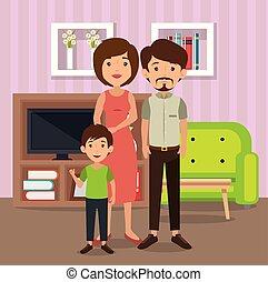 vivendo, pais, sala, cena familiar