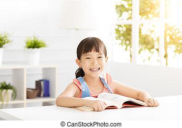 vivendo, pequeno, sala, estudo, menina, feliz