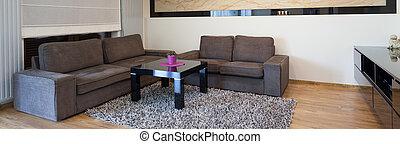 vivendo, projetado, sala, contemporâneo