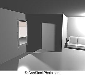 vivendo, quarto branco, fundo