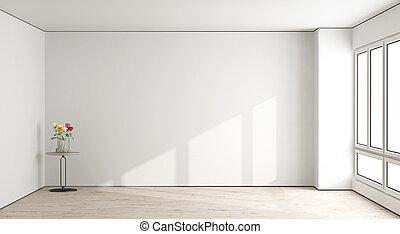 vivendo, quarto branco, vazio