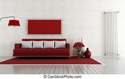 vivendo, quarto branco, vermelho