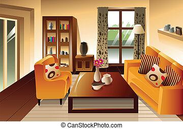 vivendo, quarto moderno, espaço