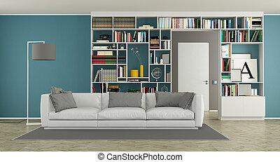 vivendo, quarto moderno, estante de livros