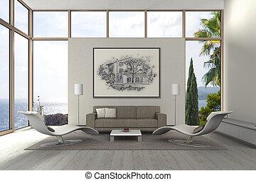 vivendo, quarto moderno, vista mar
