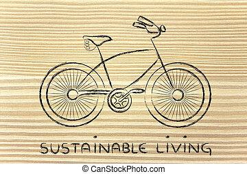 vivendo, símbolo, bicicleta, ativo, desenho, sustentável