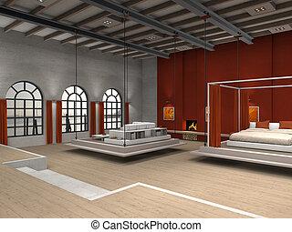 vivendo, sótão, área, móvel, quarto, sala