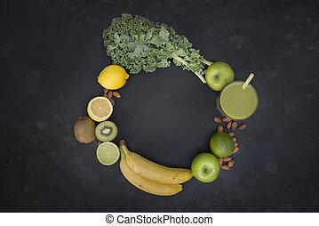 vivendo sano, verde, smoothie, con, frutta, e, verdura