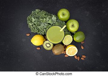 vivendo sano, verde, smoothie