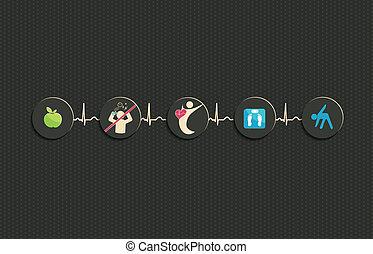 vivendo saudável, conceito, ilustração