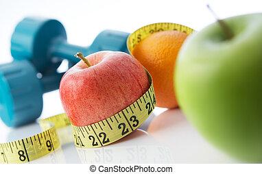 vivendo saudável, e, comer