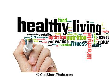 vivendo saudável, palavra, nuvem