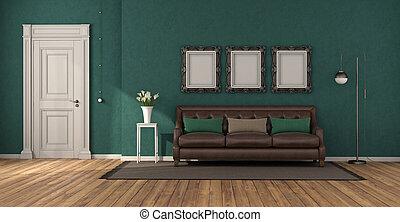 vivendo, sofá, clássicas, sala, verde, couro