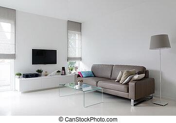 vivendo, taupe, quarto branco, sofá