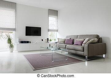 vivendo, taupe, sala, sofá couro, branca