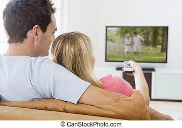 vivendo, televisão, par, sala, observar