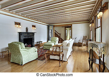 vivendo, teto, madeira, sala, aparado