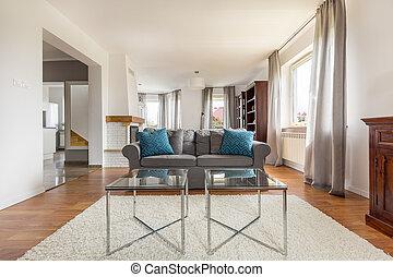 vivendo, tiro, sala, sofá, confortável, elegante