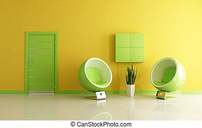 vivendo, verde, sala, amarela