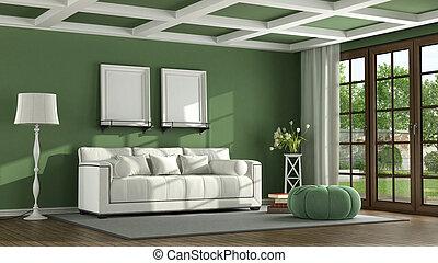 vivendo, verde, sala, clássicas