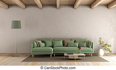 vivendo, verde, sala, sofá