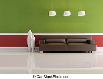 vivendo, verde, sala, vermelho