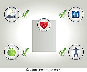 vivendo, vida, bom, saudável, esquema, qualidade