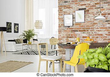 vivente, appartamento, aperto, stanza