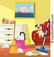 vivente, appartamento, banner., room., illustrazione, vettore, pulizia, cartone animato