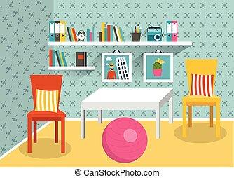 vivente, appartamento, room., retro, interno, design.