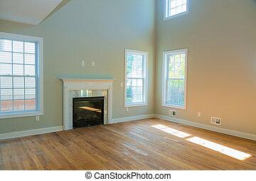 vivente, appartamento, stanza, spazioso, nuovo, caminetto, vuoto