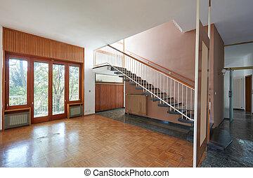 vivente, appartamento, vecchio, stanza, casa, scala, interno, vuoto
