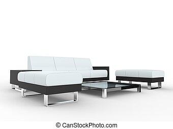 vivente, bianco, stanza moderna