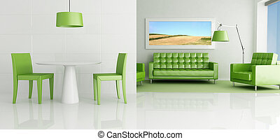 vivente, bianco, verde, stanza
