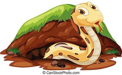 vivente, buco, serpente